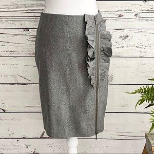 J. Crew Gray Ruffle Side Zip Stretch Wool Skirt 2